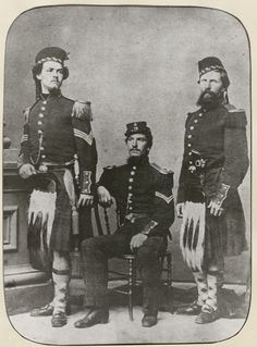 The 79th New York -Lincoln's Highlanders  Left to Right: Robert Gair, Lawrence Beattie, George Arnott.