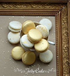 White and Gold Macarons | by www.jellycake.co.uk