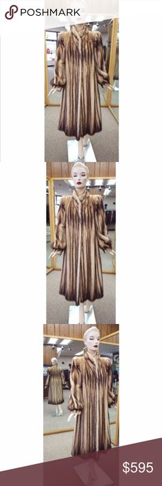 "Natural Letout Fitch Fur 48"" Coat - Size 8 Natural Letout Fitch 48"" Coat  Size 8  Small stand up collar  Band cuffs  Sleeve length (neckline to cuff): 28""  All preowned coats heave been professionally stored, cleaned, glazed and conditioned by a furrier. A.J. Ugent Furs Jackets & Coats"