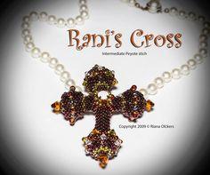 *P Bead Pattern - Rani's Cross Pendant. $7.50, via Etsy.