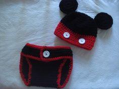 Crochet Newborn baby boy Mickey Mouse Hat