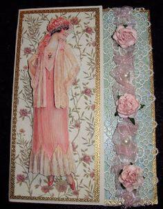 Card Art Kilcoole Personalised Cards, Handmade Cards, Dress Card, Mothers Day Cards, Handmade Dresses, Vintage Cards, Simply Beautiful, Fabric Flowers, Vintage Style