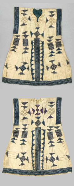 Africa | Tunic from Liberia | 20th century | Cotton; plain woven; embroidered; hand-sewn