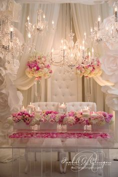 At the reception where bride and groom sit flowers