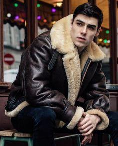 More guys in fleecy sheepskin coats pics Mens Shearling Jacket, Men's Leather Jacket, Shearling Coat, B3 Bomber Jacket, Bomber Jackets, Sheepskin Jacket, Mens Tights, Man Photo, Good Looking Men