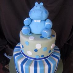 Hippo baby shower cake!