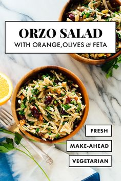 This IRRESISTIBLE orzo salad is bursting with FRESH Mediterranean flavors! It includes whole grain orzo, fresh parsley, toasted almonds, crumbled feta, green onion and Kalamata olives. Cheap Clean Eating, Clean Eating Snacks, Healthy Eating, Orzo Salad Recipes, Pasta Recipes, Vegetarian Recipes, Healthy Recipes, Clean Recipes, Healthy Meals