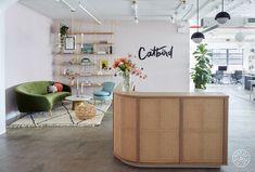 Step Inside Catbird's Ultra-Feminine Brooklyn HQ – Homepolish Office Nyc, Dance Studio Design, Brooklyn, Nyc Girl, Oak Shelves, Home Office Decor, Home Decor, Office Ideas, Restaurant