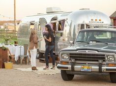 Perfect evening with the Airstream and the 89 Jeep Wagoneer