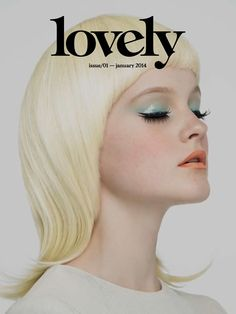 Love the glossy mint eye and matte coral lip. Cover of the magazine Lovely, Issue via Behance. Art Direction and Design by Pablo Abad, photographed by Jose Luis Beneyto Design Editorial, Beauty Editorial, Editorial Fashion, Editorial Hair, Beauty Makeup, Hair Makeup, Hair Beauty, Beauty Shoot, Makeup Art
