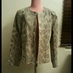 Spiegal Leather Snakeprint Zipper Moto Jacket Nwt
