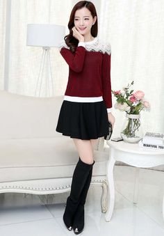 Women's #red long sleeve #TShirt flower lace hollow cut, Rib-knit cuff, round neck, Pull over.