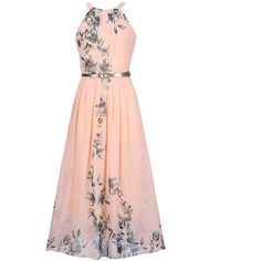 Flowy Floral Printed Chiffon Crew Neck Maxi Dress (€31) ❤ liked on Polyvore featuring dresses, flower pattern dress, print maxi dress, white dress, white day dress and white floral dress