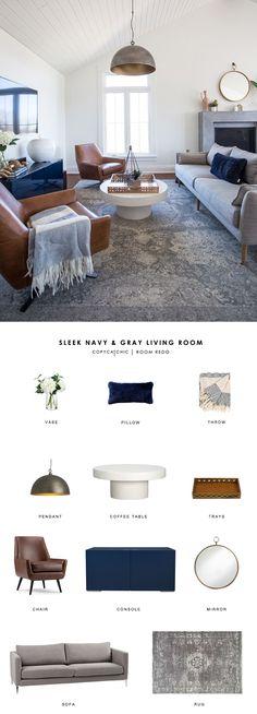 Copy Cat Chic Room Redo | Sleek Navy and Gray Living Room