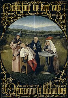 """Cutting the Stone, also called The Extraction of the Stone of Madness or The Cure of Folly, is a painting by Hieronymus Bosch, displayed in the Museo del Prado in Madrid, completed around 1494 or later.  It depicts the extraction, by a man wearing a funnel hat, of the stone of madness, a """"keye"""" (modern Dutch: kei) from a patient's head, using trepanation, Bosch has exchanged the traditional """"stone"""" as the object of extraction with the bulb of a flower."""