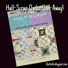 Give-Away Goodies on the blog today!  Come visit the blog and leave a comment on my blog post to be entered to win! I am previewing all of the quilts from @mdquilts Mickey Depre's new book release Half Scrap Quilts!   I'll be drawing for 2 lucky winners to each recieve a signed copy from Mickey,  hot off the presses!  Woot!    http://quiltville.blogspot.com/2015/09/half-scrap-quilts-give-away.html  #quilt #quilting #patchwork #quiltville #bonniekhunter #giveaway