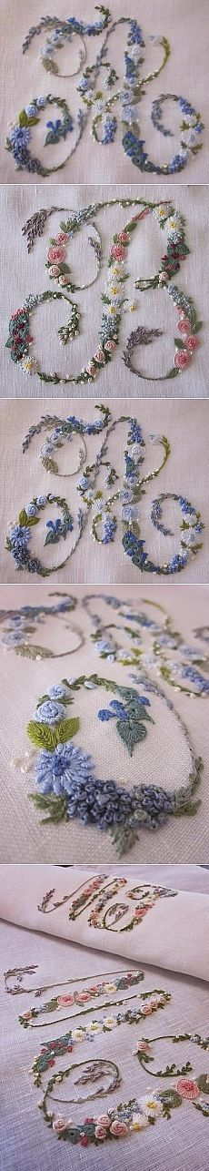 Wonderful Ribbon Embroidery Flowers by Hand Ideas. Enchanting Ribbon Embroidery Flowers by Hand Ideas. Embroidery Alphabet, Embroidery Monogram, Silk Ribbon Embroidery, Embroidery Art, Cross Stitch Embroidery, Embroidery Designs, Brazilian Embroidery, Ribbon Art, Embroidery Needles