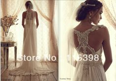 ANN12170 Luxury Sleeveless Anna Campbell Chiffon Vintage Bridal Crystal Wedding Dress With Beaded Back
