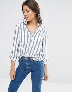 The River Island Stripe Shirt is absolute must-have for quick and easy summer outfits with a laid-back style - get even more style and shopping inspiration on http://jojotastic.com/shop-my-favorites/
