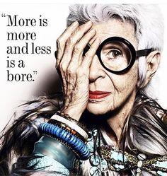 Iris Apfel School of Holiday Decorating All hail the matriarch of personal style, Iris Apfel.All hail the matriarch of personal style, Iris Apfel. Fashion Mode, Trendy Fashion, Funny Fashion, Woman Fashion, Style Fashion, Diy Fashion, Fall Fashion, Classy Fashion, Modest Fashion