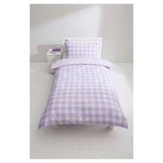 Buy Kids 100% cotton Lilac & pink check reverse duvet set sb from our Single Duvet Covers range - Tesco.com