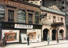 Le Grand Cinema Plaisir (ouvert en 1910) au n°95 de la rue de la Roquette. Un autochrome d'Auguste Léon du 14 mai 1918 - © Musée Albert Kahn  (Paris 11ème)