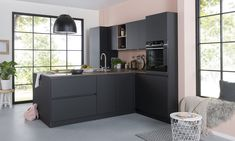 Crisp Kitchen, New Kitchen, Kitchen Decor, Carbon Fiber Wallpaper, My Kitchen Rules, Home Board, Upholstered Sofa, Black Kitchens, Kitchenette