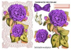Pretty purple roses on vintage lace with bow on Craftsuprint - Add To Basket!