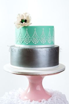 Elegance in Silver and Aqua ~ Sugar veil flower and hand piped. ~ all edible