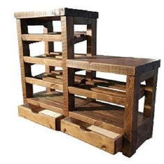 Rustic wooden shoe rack with 2 drawers seat by CaptainsCraftworks