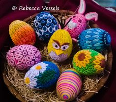Paper Quilled Easter Eggs that I've done so far. If you would like to place an order, please contact me Rebecca Vessels, here or on my Facebook, https://www.facebook.com/rvessels . ... . Thanks !
