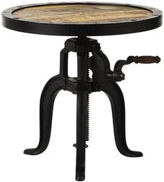 I looooove all crack tables. Like the idea of mixing industrial prices into the new build. Home Decorators Collection, Industrial Natural Reclaimed Adjustable Accent Table, 1833700950 at The Home Depot - Mobile