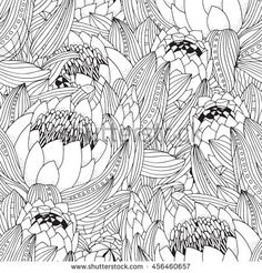 Coloring book page for adult and children. Seamless pattern with. Protea Flower, Flowers, Flower Coloring Pages, Dot Painting, Free Vector Art, Book Pages, Line Drawing, Flower Art, Coloring Books