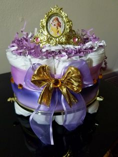 Lavender and Gold Princess 1 Tier Diaper Cake
