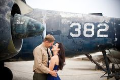 Vintage Pin Up Aviator Engagement Shoot | Bridal Musings | A Chic and Unique Wedding Blog flightdeck1.com