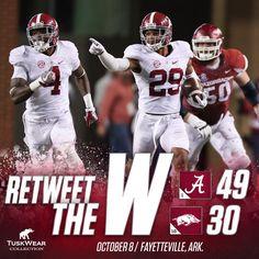 Alabama Football on Twitter: Hurts has 3 TDs (2 rush, 1 pass) & Fitzpatrick has 3 INTs (including school record 100-yd INT TD return) as UA wins at Arkansas! #RollTide 10/08/2016