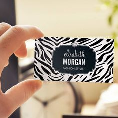 Trendy Black and White Zebra Print Shiny Diamond Business Card Templates