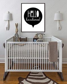"Baby's Room Inspiration: ""Hello Handsome Digital Print - Kids room Decor -Black and White Art Print"""