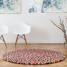 "Amazon.com - Hand Felted Ball Rug 3' 5"" Diameter, Home Decor Rug, Felt Rug -"