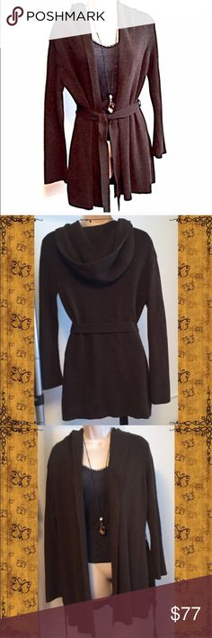 "BCBG hooded long brown duster cardigan Beautiful brown color with a very slight green tint, best seen in pic 3. Heavy cotton/acrylic/nylon material- very luxurious feeling! Measures approx 37"" long, 27"" across chest, & 25"" sleeves. Size medium, could fit small-large. Flawless condition! Barely worn once. 🔴Bundle to save! 🔴NO TRADES, no modeling. 🔴REASONABLE offers welcome via offer button. BCBGMaxAzria Sweaters Cardigans"