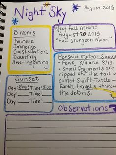 Handbook of Nature Study: Stargazing - Study Grid and Perseid Meteor Shower with an example from my nature journal.