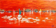 voilier blanc sur marine rouge