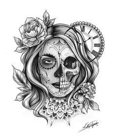 280+ Best Sugar Skull Tattoo Designs With Meanings (2020) Día de los Muertos Cloud Tattoos, Hand Tattoos, Body Art Tattoos, Chicano Tattoos, Tattoo Girls, Calaveras Mexicanas Tattoo, Sugar Skull Girl Tattoo, Girl Skull Tattoos, Sugar Skull Drawings