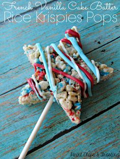 French Vanilla Rice Krispies Pops | paintchipsandfrosting.com  The kids will go crazy for these rice krispies pops!  And it's so simple - just add a little cake mix and lots of sprinkles!