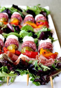 Healthy Party Food Ideas | Antipasto on a Stick | DIY Projects & Crafts by DIY JOY at http://diyjoy.com/best-diy-party-food-ideas