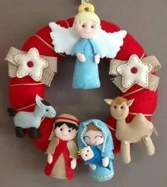 Vintage christmas tree ornaments kids Ideas for 2019 Christmas Mood, Noel Christmas, Christmas Nativity, Vintage Christmas, Diy Nativity, Felt Christmas Decorations, Crochet Christmas Ornaments, Christmas Embroidery, Christmas Projects