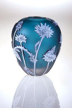 Helen Millard Cameo Glass Miniatures - Blue Daisy Vase