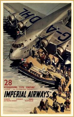 Vintage Airplanes vintage everyday: Vintage British Aviation Posters, ca. Old Poster, Poster Ads, Travel Ads, Airline Travel, Air Travel, Pub Vintage, Vintage Style, Flying Boat, Art Deco Posters