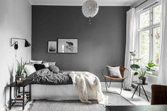Grey Bedroom Ideas - Minimalist Grey Bedroom Design with Dark Grey Wall - Best G. Grey Bedroom Ideas - Minimalist Grey Bedroom Design with Dark Grey Wall - Best Grey Bedroom Decor: Beautiful Light and Dark Grey Bedroom Ideas and Designs Home Decor Bedroom, Bedroom Decor, Grey Bedroom Decor, Minimalist Bedroom, Interior, Gray Bedroom Walls, Remodel Bedroom, Home Decor, Bedroom Wall