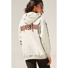 Forever 21 Women's  Purpose Tour Graphic Hoodie ($25) ❤ liked on Polyvore featuring tops, hoodies, white hoodie, hooded pullover, white top, hoodie top and graphic hoodie
